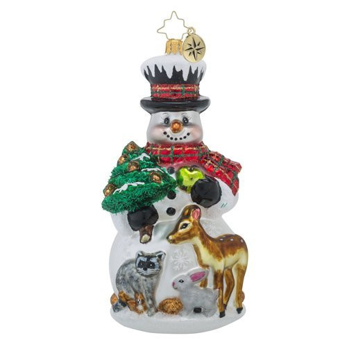 Christopher Radko-  Feast for Friends Snowman and Animal  Ornament