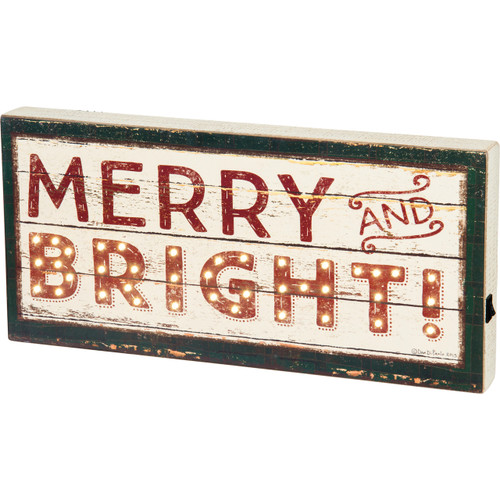 Primitves By Kathy  - LED Box SIgn - Merry and Bright