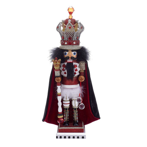 "Kurt Adler 18"" Hollywood Red and White King Nutcracker with Wire Crown"