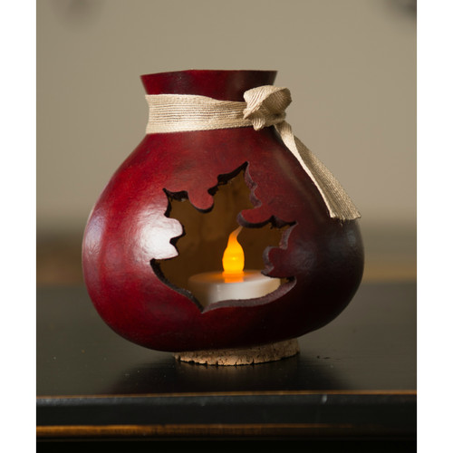 Meadowbrooke Gourds- Mahogany Leaf Silhouette Vase