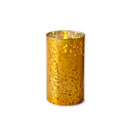 """Liown - Gold Mercury Glass Moving Flame - Flameless LED Candle - Indoor - Unscented Wax - Remote Ready - 3.5"""" x 6"""""""