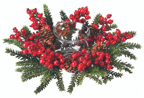 FIR AND RED BERRY AND PINE CONE CANDLE HOLDER
