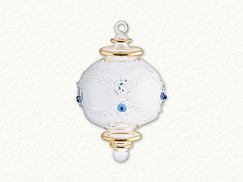 Clear and Gold Rim Egyptian Glass Ball with Azure Dots