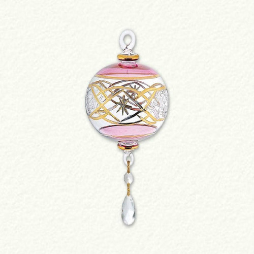 Egyptian Glass Pink and Gold Ball with Crystals Ornament