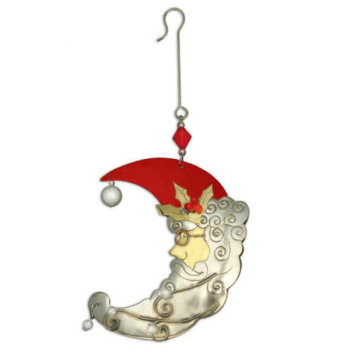 Pilgrim Imports - Handcrafted, Fair Trade,  Metal Santa Moon Ornament