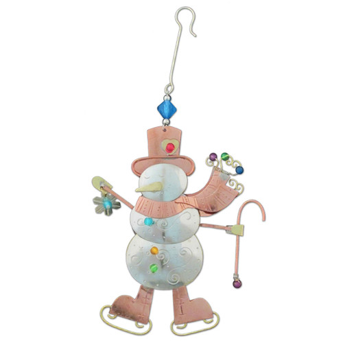 Pilgrim Imports - Handcrafted, Fair Trade,  Metal Skating Snowman Ornament