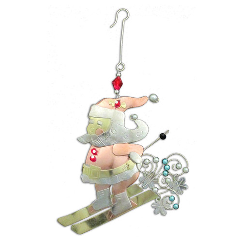 Pilgrim Imports - Handcrafted, Fair Trade,  Metal Skiing Santa Ornament
