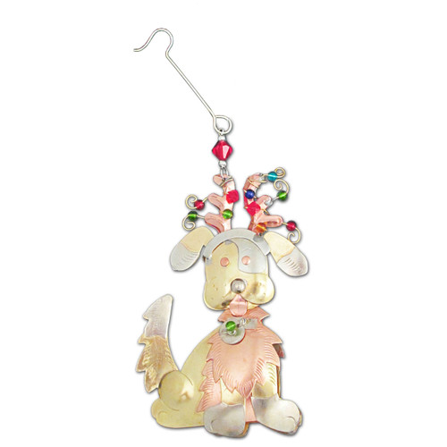 Pilgrim Imports - Handcrafted, Fair Trade,  Metal Festive Dog Ornament