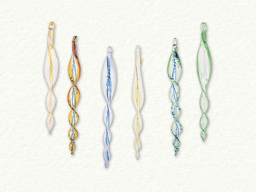 Multicolored Spiral Swirl Egyptian Glass Icicles - set of 5