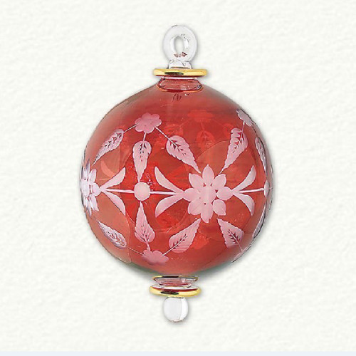 Egyptian Glass Red Floral Etched Ornament