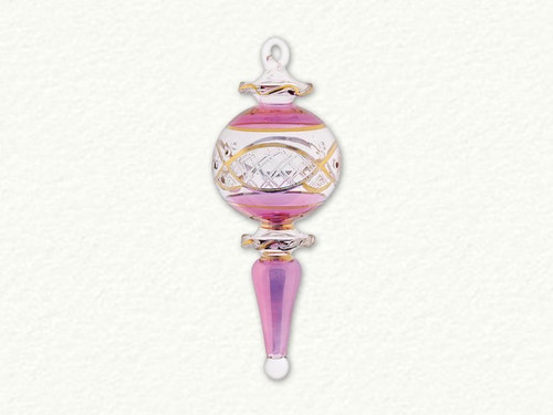 Pink Fancy Egyptian Glass Ornament Etched in Gold Design.