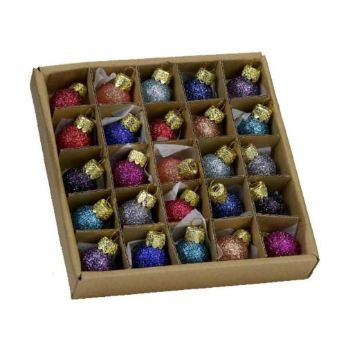 Glitter Glass Ball Ornaments Set of 25