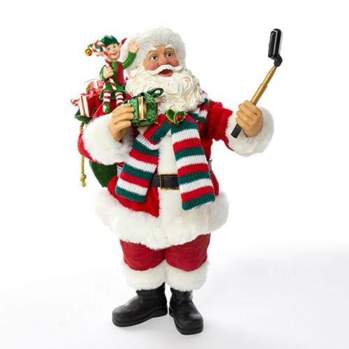 "Kurt Adler Fabirche Santa - 10"" Santa Taking Selfie with Elf"