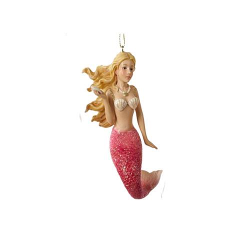 Bright Pink Mermaid Ornament