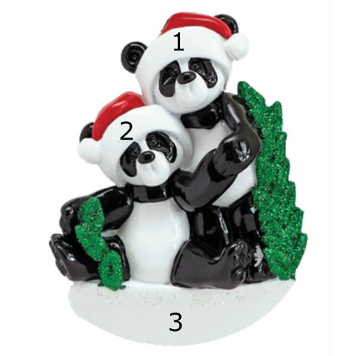 *New for 2017* Free Personalization - Bamboo Panda Family of 2 Ornament