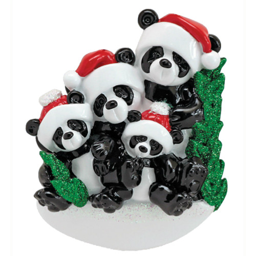 *New for 2017* Free Personalization - Bamboo Panda Family of 4 Ornament