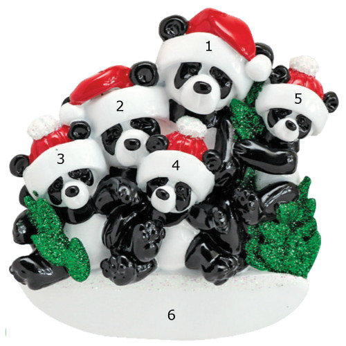 *New for 2017* Free Personalization - Bamboo Panda Family of 5 Ornament