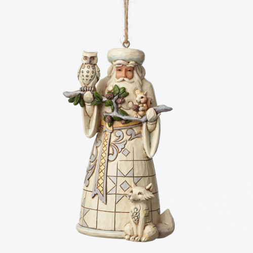 Jim Shore Heartwood Creek- White Woodland Santa Ornament