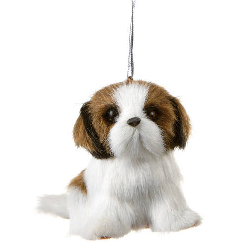 Small Brown and White Dog Ornament