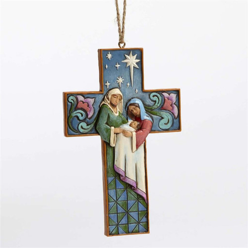 *New 2017* Jim Shore Heartwood Creek-Holy Family Cross Ornament