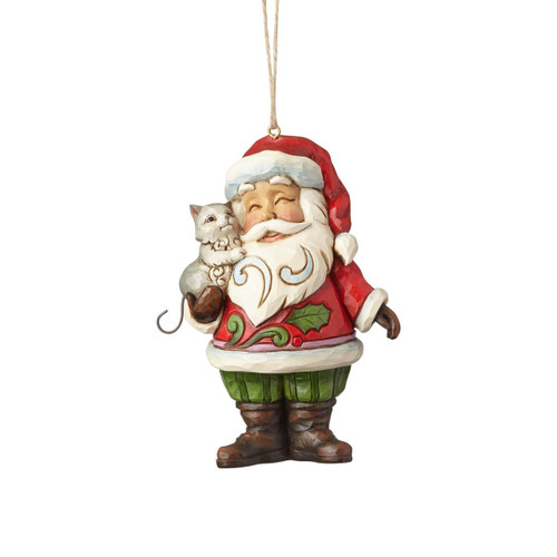 *New 2017* Jim Shore Heartwood Creek-Santa with Cat Ornament