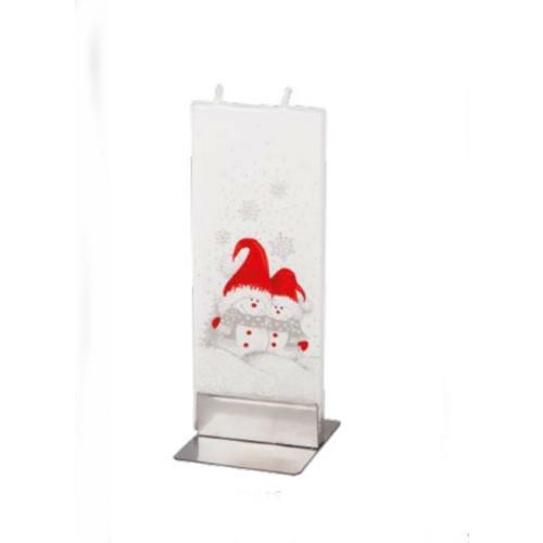 Flatyz Handmade Lithuanian Twin Wick Unscented Candle - Snowmen