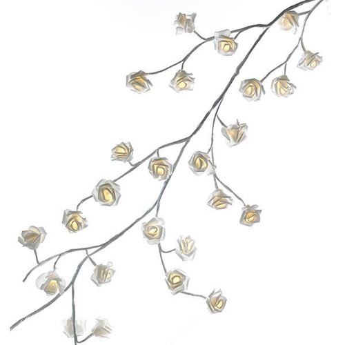 6' Lit White Rose Garland