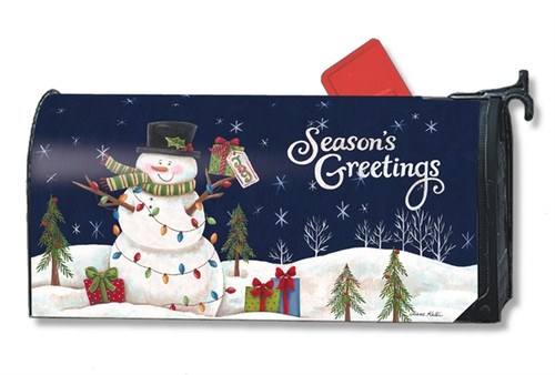Snowman Lights Mail Box Cover