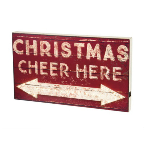 LED Christmas Cheer Here Box Sign