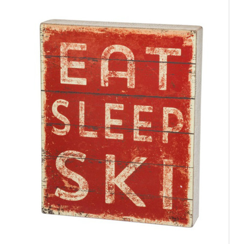 Eat Sleep Ski Box Sign