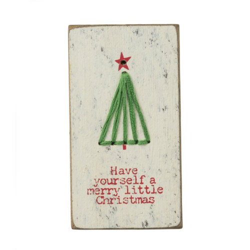 Merry Little Stitched Block Magnet