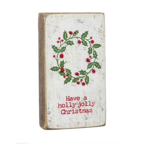 Holly Jolly Stitched Block Magnet