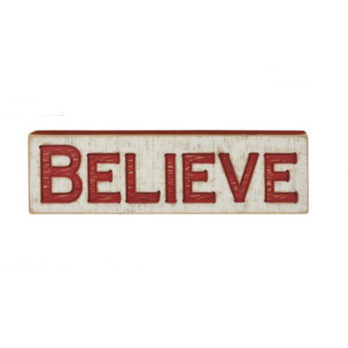 Believe Carved Box Sign