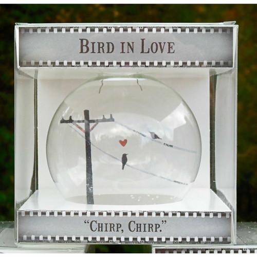 Birds in Love on Celluloid Print Ornament - Handmade by Artist Glāk Love