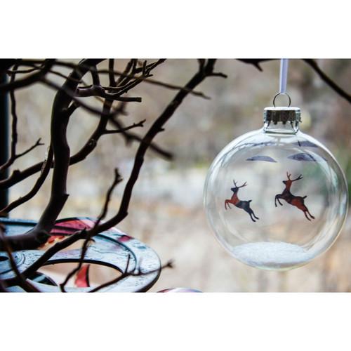 Flying Reindeer on Celluloid Print Ornament - Handmade by Artist Glāk Love