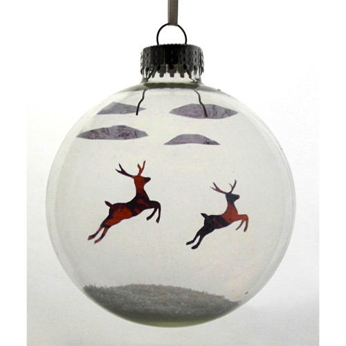 Flying Reindeer on Celluloid Print Ornament - Handmade by Artist Glāk Love