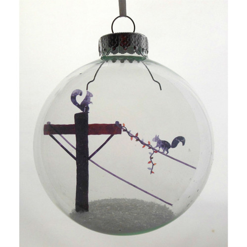 Squirrels on wire Celluloid Print Ornament - Handmade by Artist Glāk Love