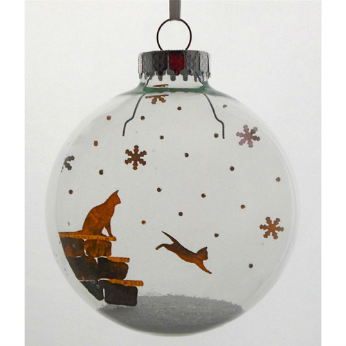 Kitten in Snow on Celluloid Print Ornament - Handmade by Artist Glāk Love