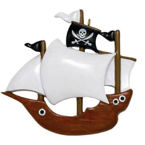 Free Personalization - Pirate Ship Ornament