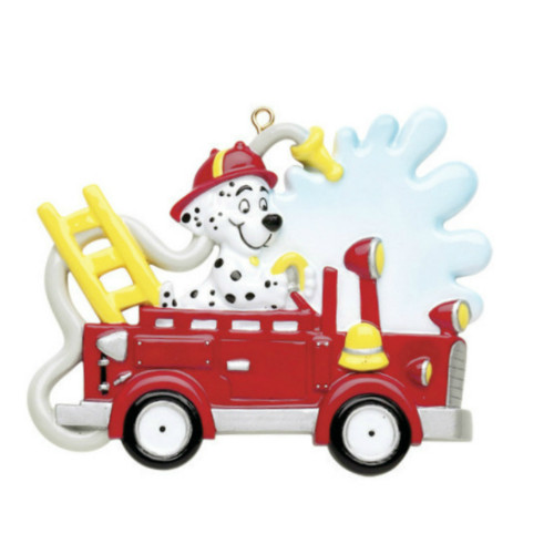 Free Personalization - Fire Truck with Dog Ornament