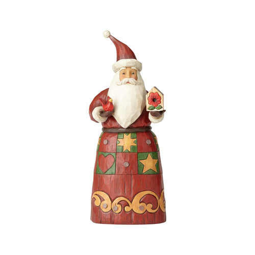 Jim Shore- Heartwood Creek- Santa with Red Bird Figurine