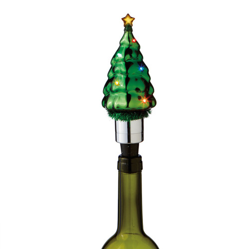 Flashing Light Christmas Tree Wine Bottle Topper