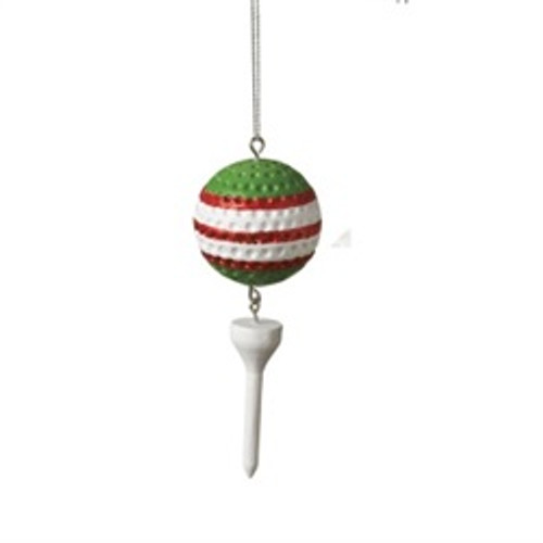 "3.75"" Green Striped Golf Ball and White Tee Dangle Christmas Ornament"