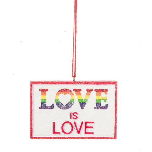 Love is Love Ornament - Pink Trim Rainbow Ornament