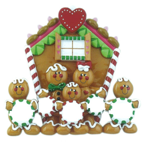 Free Personalization* Gingerbread House Family of 5
