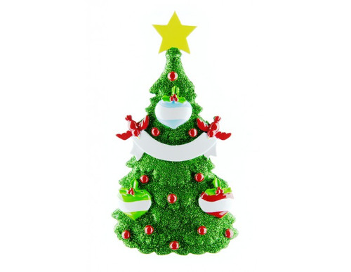 Free Personalization* Glittering Green Christmas Tree with 3 Balls