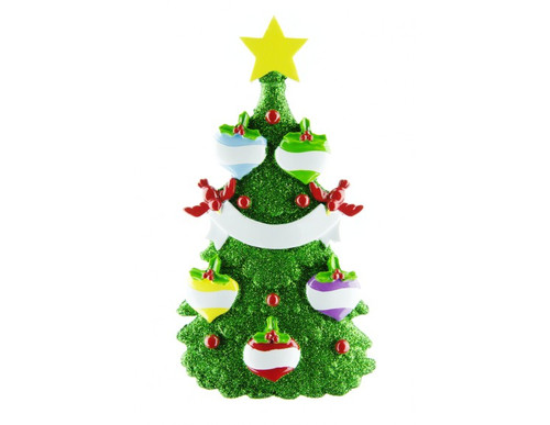 Free Personalization* Glittering Green Christmas Tree with 5 Balls