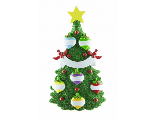 Free Personalization* Glittering Green Christmas Tree with 6 Balls