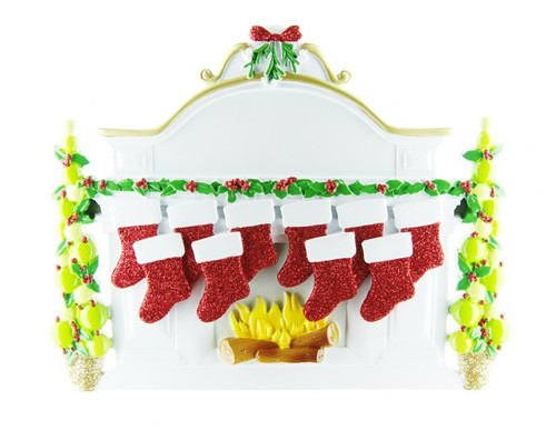 Free Personalization* Family of 10 Sparkling Red Stockings on Fireplace