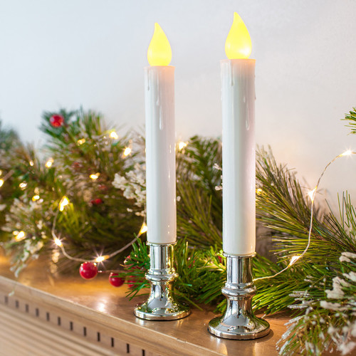 flickering white taper window candle with removable silver base set of 2